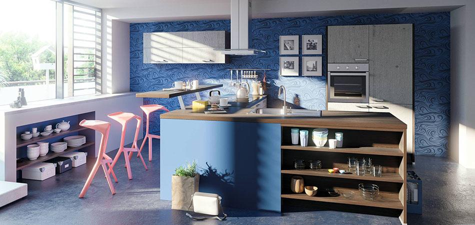Miniküche blau Pino 100