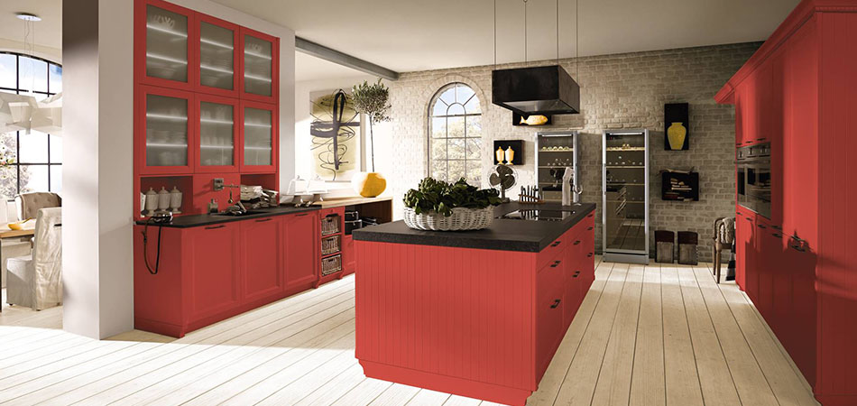 Wohnküche rot ALNOBRIT