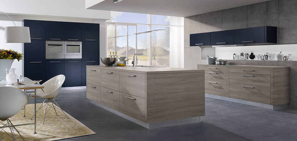 Wohnküche blaue Küche ALNOFINE_ALNOPLAN
