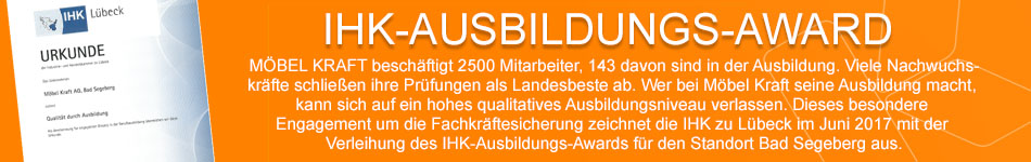 Ausbildungs-Award der IHK zu Lübeck für Möbel Kraft