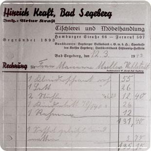 Möbel Kraft Rechnung aus dem Jahre 1949