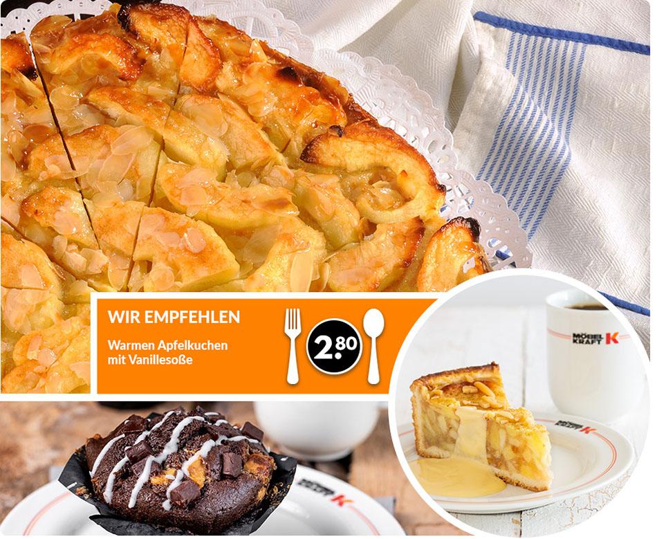 Wir empfehlen: Warmen Apfelkuchen mit Vanillesoße für 2.80Euro