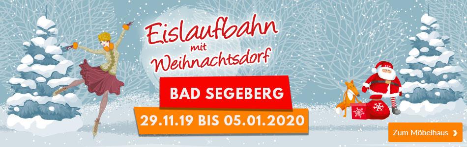 Eislaufbahn mit Weihnachtsdorf bei Möbel Kraft in Bad Segeberg vom 29.11.2019 bis 05.01.2020