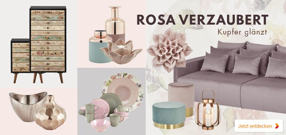 Wohnidee: Rosa verzaubert - Kupfer glänzt