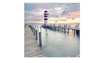 Glasbild 20x20 cm  White & Red Lighthouse