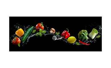 Glasbild  Flying Vegetables