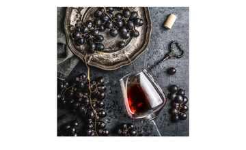 Glasbild 20x20 cm  Wein und Trauben