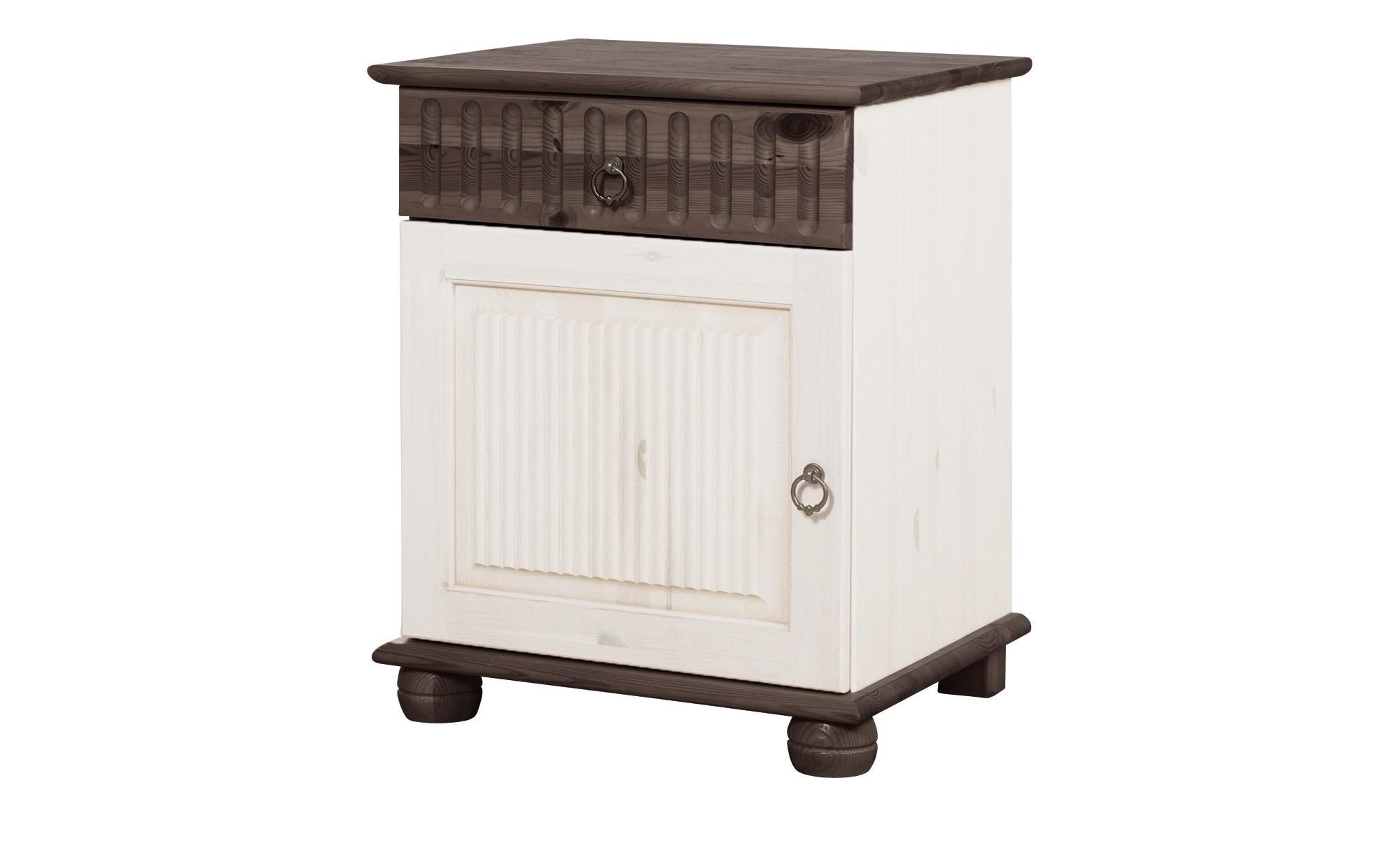 Nachtkommode - weiß - 48 cm - 60 cm - 40 cm - Kommoden & Sideboards > Kommoden - Möbel Kraft | Schlafzimmer > Kommoden | Möbel Kraft