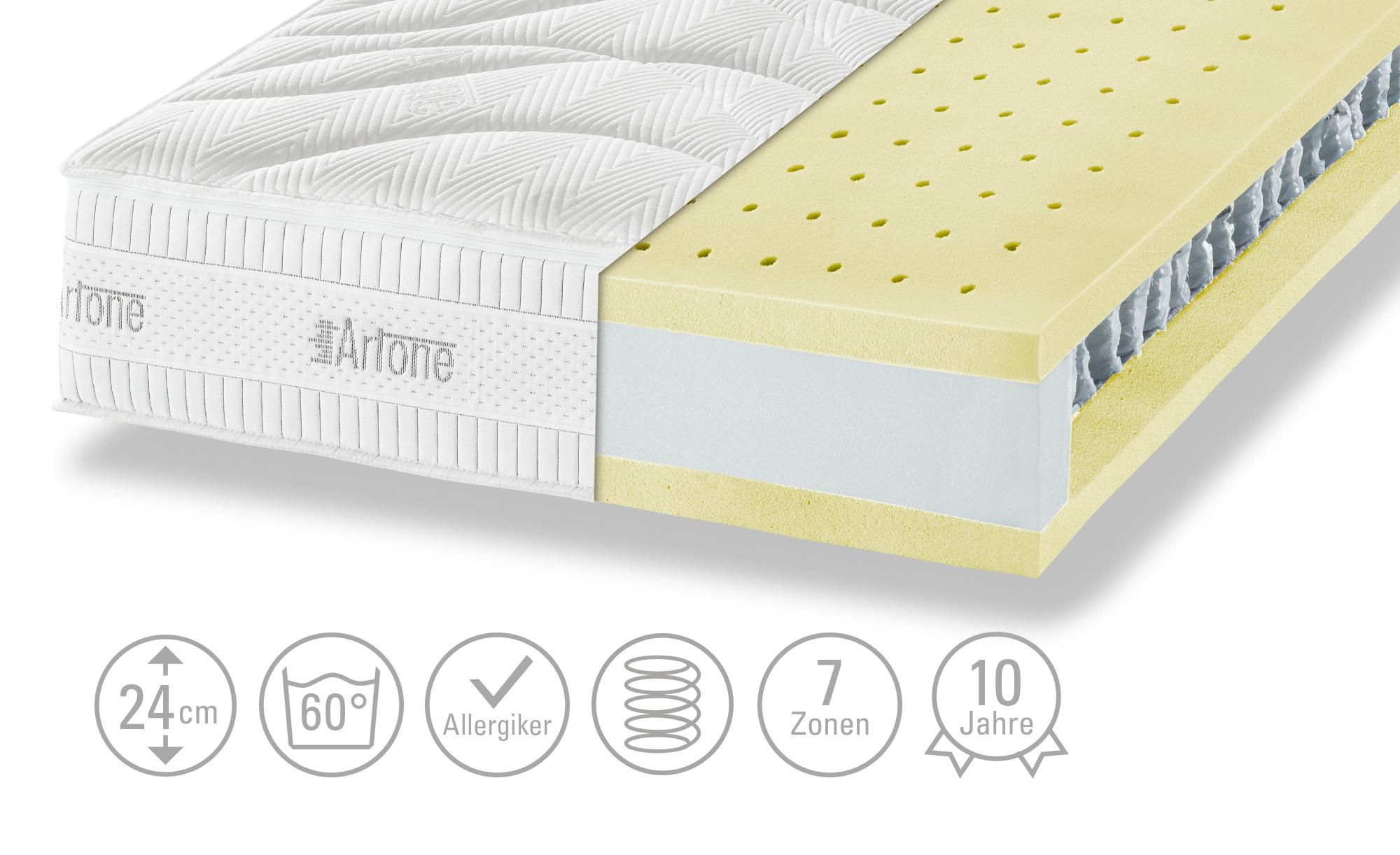 Artone 7-Zonen-Tonnentaschenfederkern-Matratze  Top 1000 B T - weiß - 100 cm - 24 cm - Matratzen & Zubehör > Federkernmatratzen - Möbel Kraft   Schlafzimmer > Matratzen > Federkernmatratzen   Artone