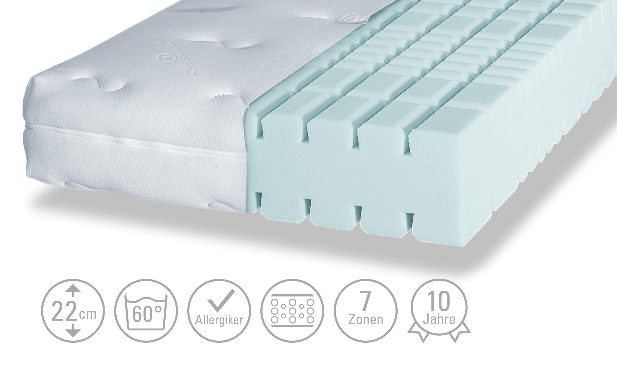 Kaltschaum-Matratze - weiß - 140 cm - 22 cm - Matratzen & Zubehör > Kaltschaummatratzen - Möbel Kraft | Schlafzimmer > Matratzen > Kaltschaum-matratzen | Sconto