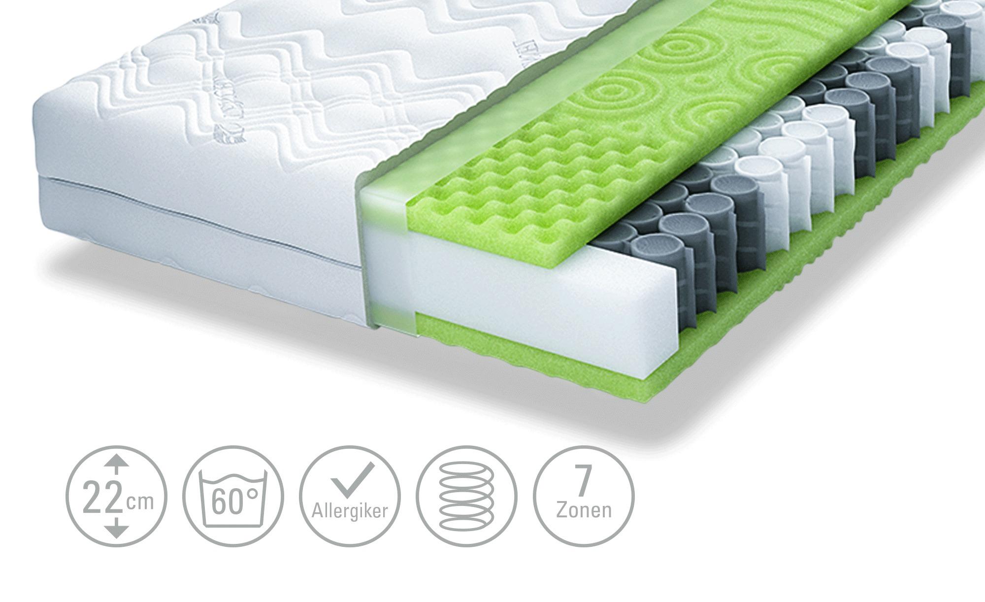 SCHLARAFFIA 7-Zonen-Taschenfederkern-Matratze  Bora Pure 55 TFK - weiß - Ma günstig online kaufen