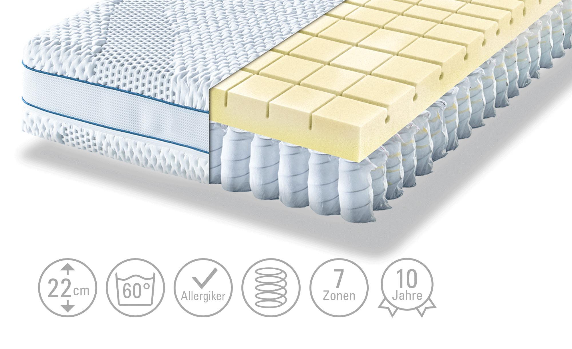 Möve Tonnentaschenfederkern - Matratze  Aqua Top T - weiß - 180 cm - 22 cm - Matratzen & Zubehör > Federkernmatratzen - Möbel Kraft   Schlafzimmer > Matratzen > Federkernmatratzen   Möve