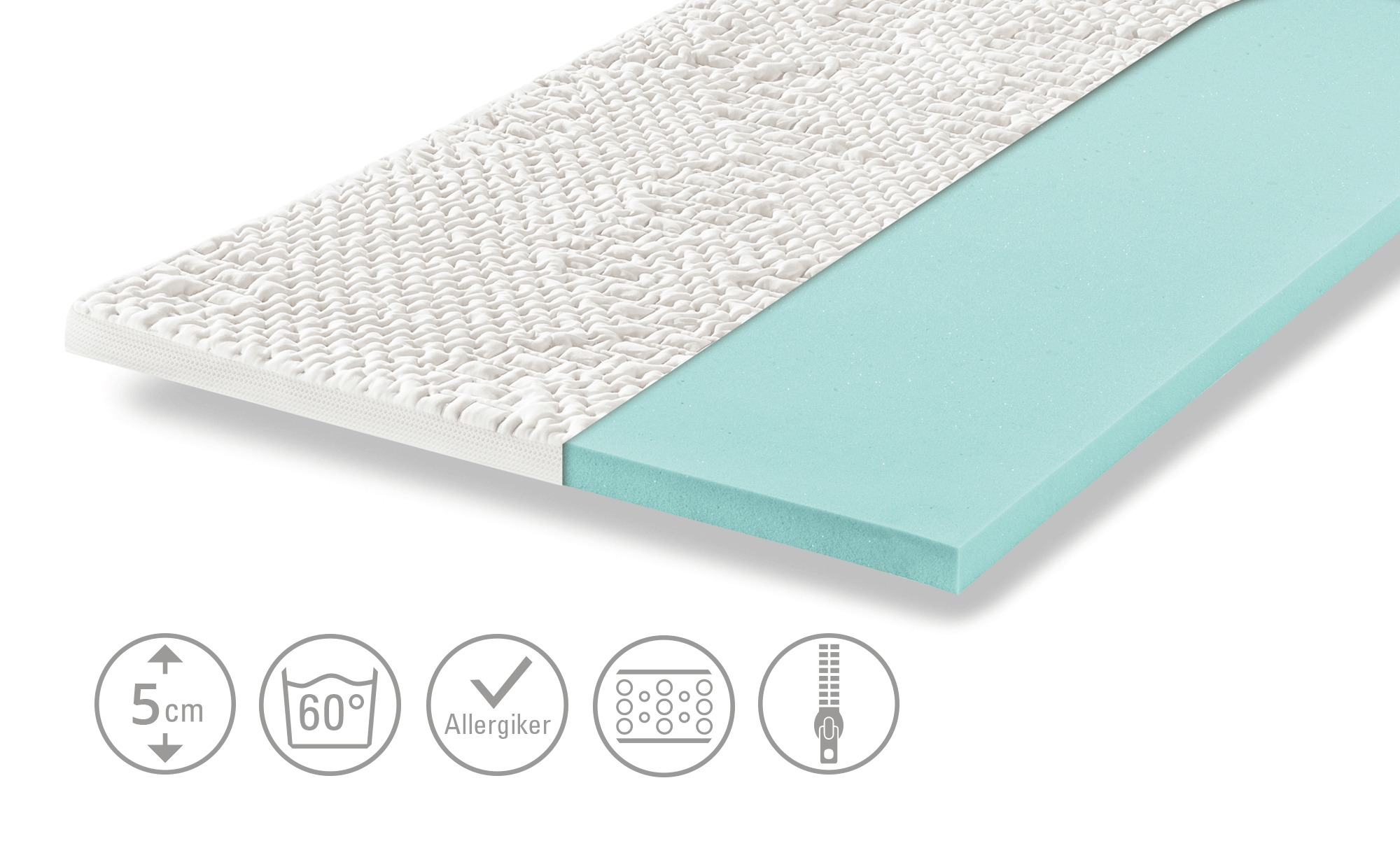 Möve Kaltschaumtopper  Aqua Med KS - weiß - 90 cm - 5 cm - Matratzen & Lattenroste > Matratzenarten > Matratzen-Topper - Möbel Kraft | Schlafzimmer > Matratzen > Unterbetten | Möve