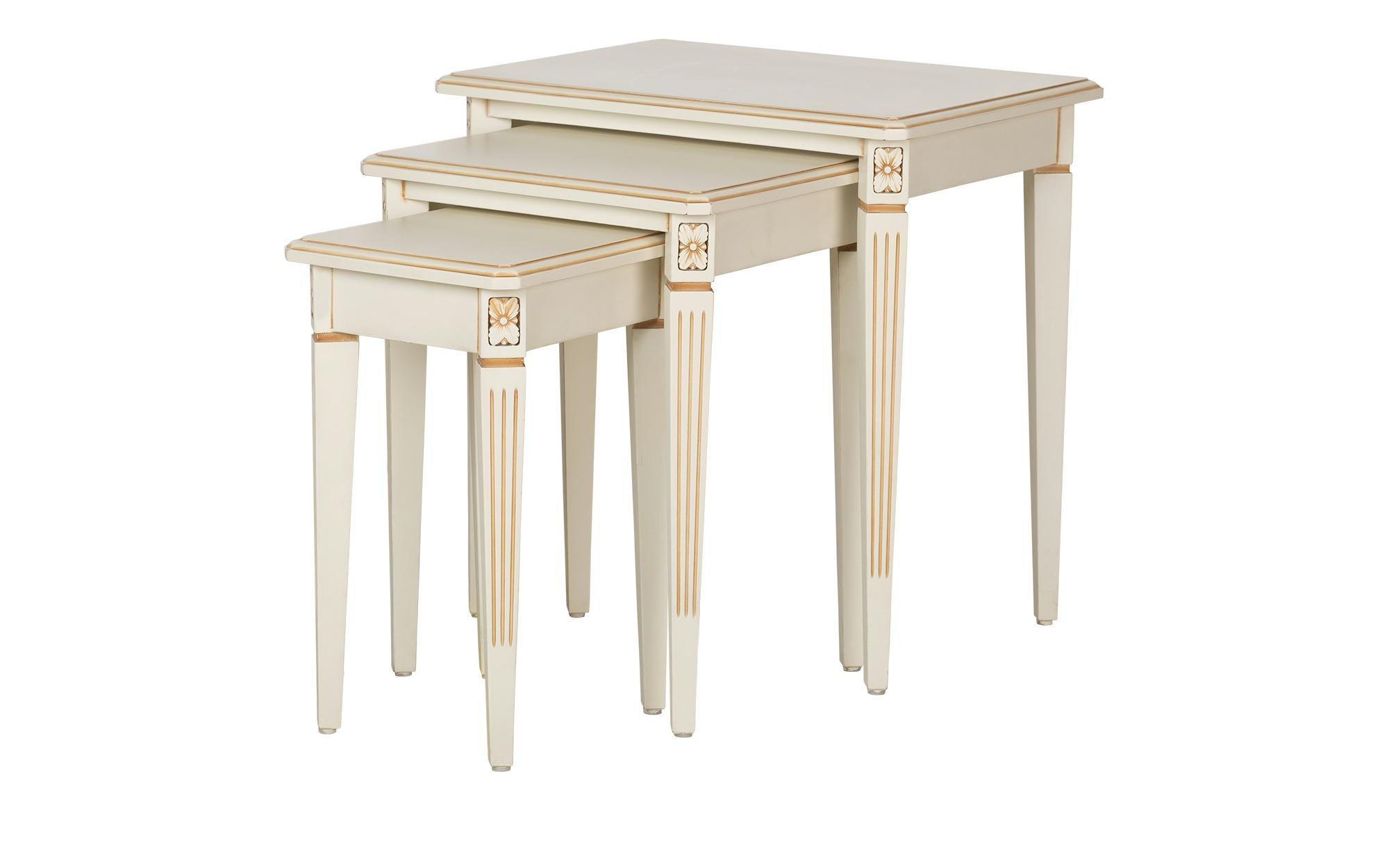 Dreisatztisch weiß Antik-Optik - weiß - 37 cm - 52 cm - 37 cm - Tische > Beistelltische - Möbel Kraft | Wohnzimmer > Tische > Satztische & Sets | Sconto