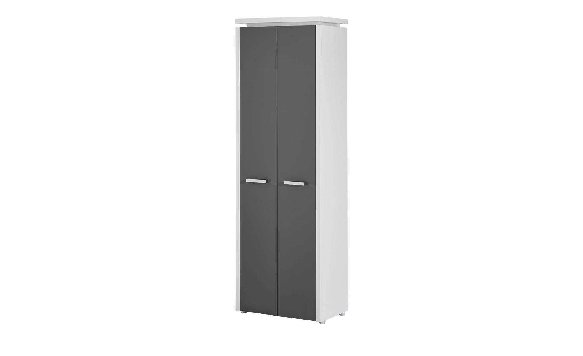 Dielenschrank - grau - 62 cm - 192 cm - 37 cm - Schränke > Garderobenschränke - Möbel Kraft   Flur & Diele > Mehrzweckschränke   Möbel Kraft