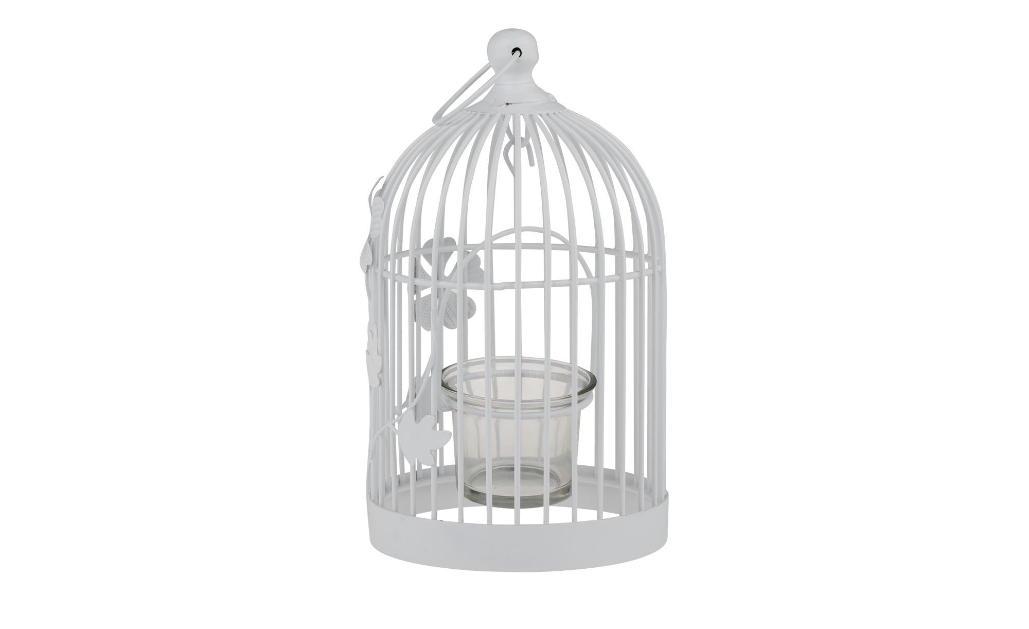 Teelichthalter `Vogelkäfig` - weiß - Metall, Glas - 12,5 cm - 19 cm - 11,5 cm - Dekoration > Kerzen & Lichter > Kerzenständer - Möbel Kraft | Garten > Tiermöbel > Vogelkäfige-Volieren | Sconto