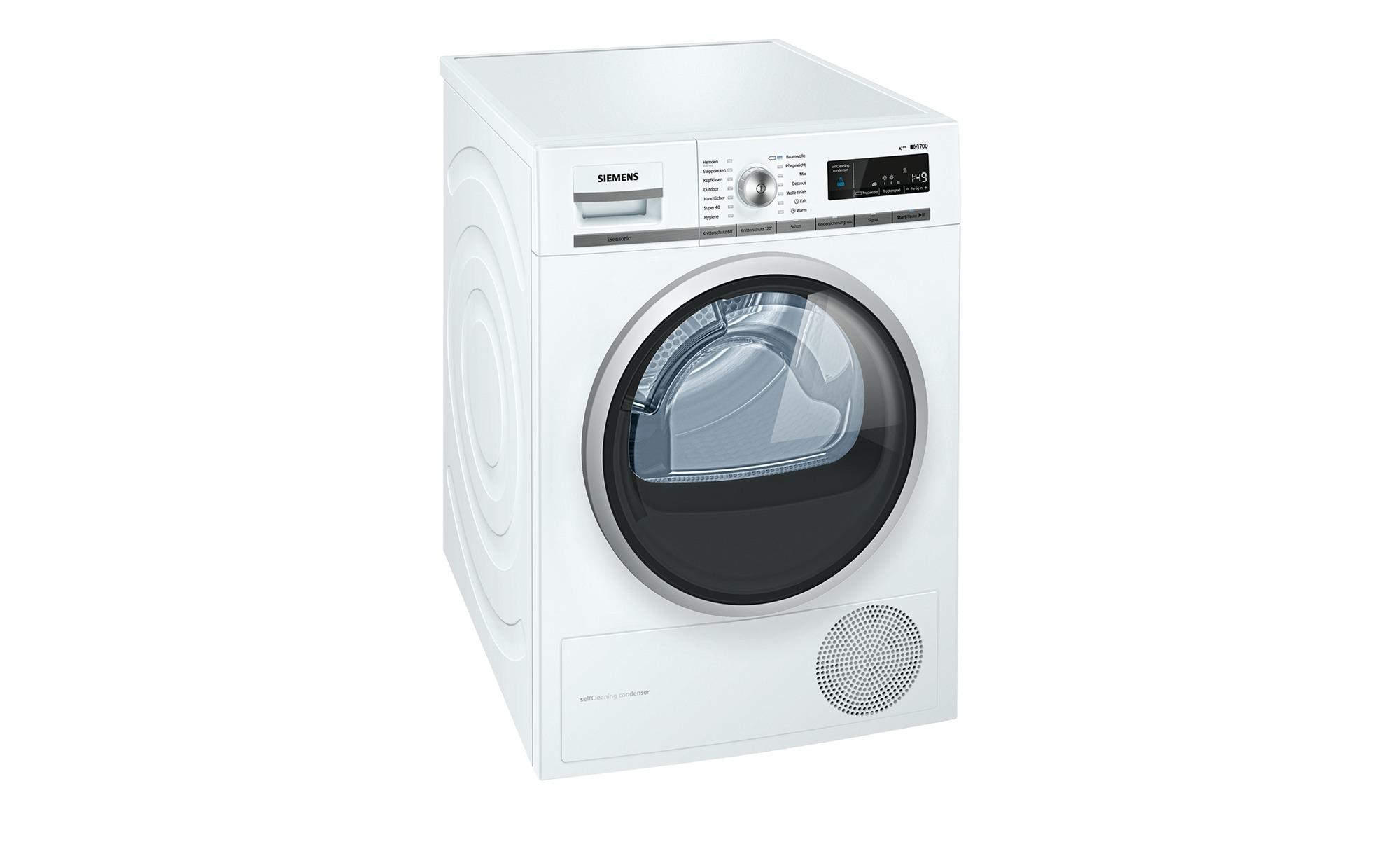 SIEMENS Wärmepumpentrockner  WT 47 W 5W0 - weiß - Metall-lackiert, Kunststoff, Glas - 59,8 cm - 84,2 cm - 65,2 cm - Elektrogeräte > Trockner - Möbel Kraft | Bad > Waschmaschinen und Trockner > Wärmepumpentrockner | SIEMENS