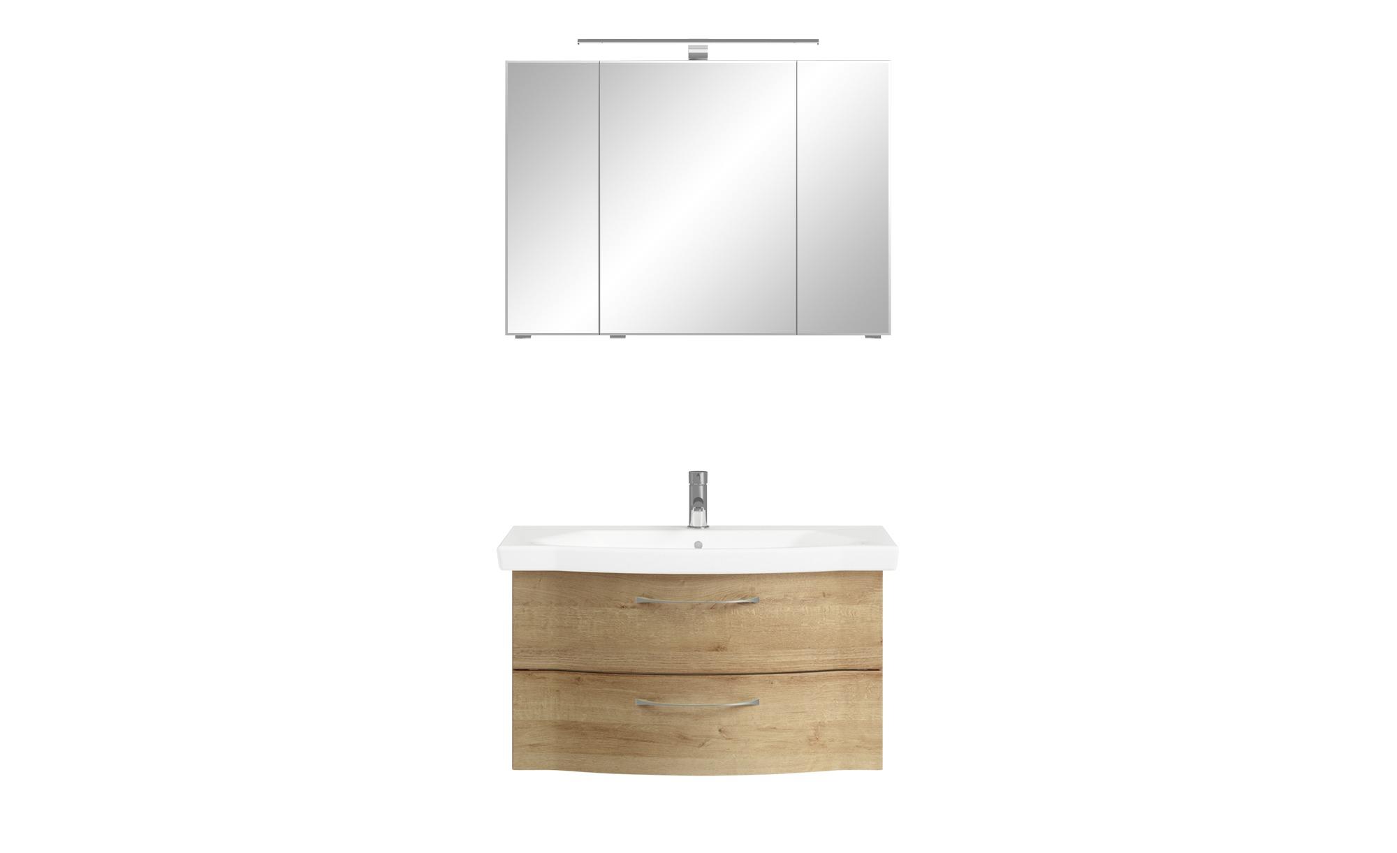 calmo Badezimmerkombination - holzfarben - 97 cm - Schränke > Badschränke >  Komplett-Badkombinationen - Möbel Kraft