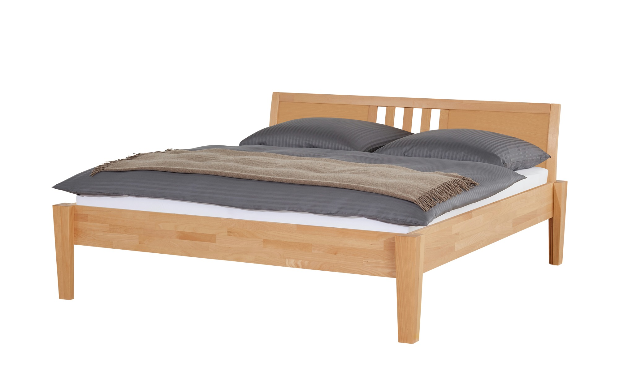 Massivholz-Bettgestell | 180 cm, Buche Natur - Möbel Kraft
