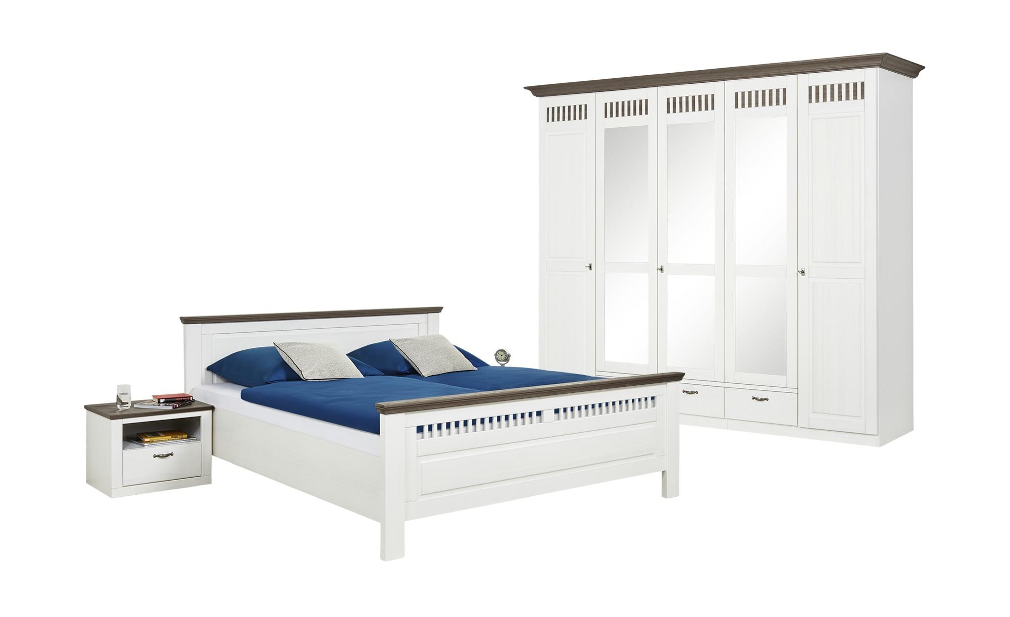 Woodford Schlafzimmer, 4-teilig Monza - weiß - 262 cm - 221 cm - 63 cm -  Komplett-Schlafzimmer - Möbel Kraft