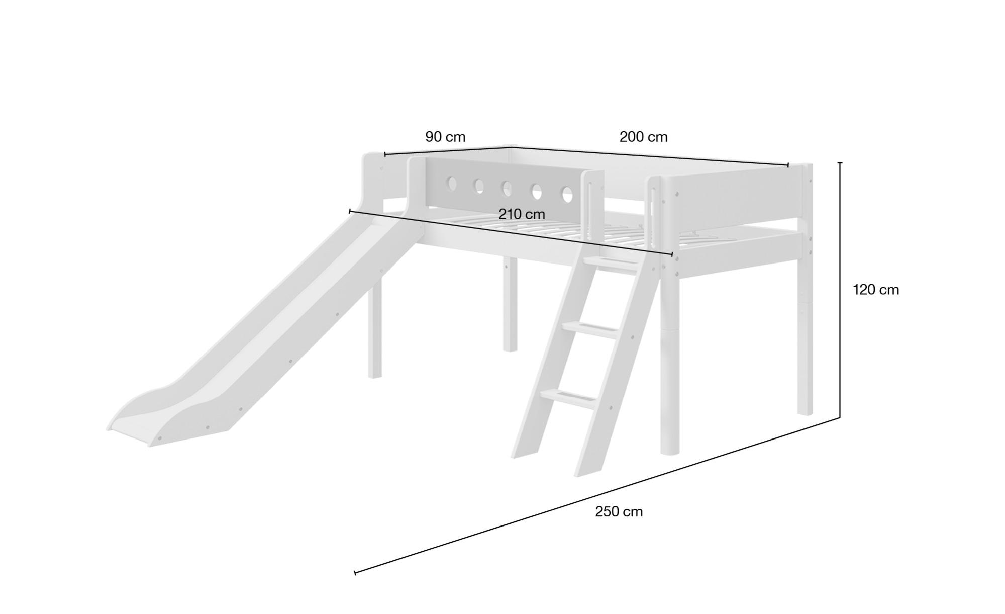 FLEXA Halbhohes Bett mit Rutsche  Flexa White - weiß - Betten > Bettgestell günstig online kaufen