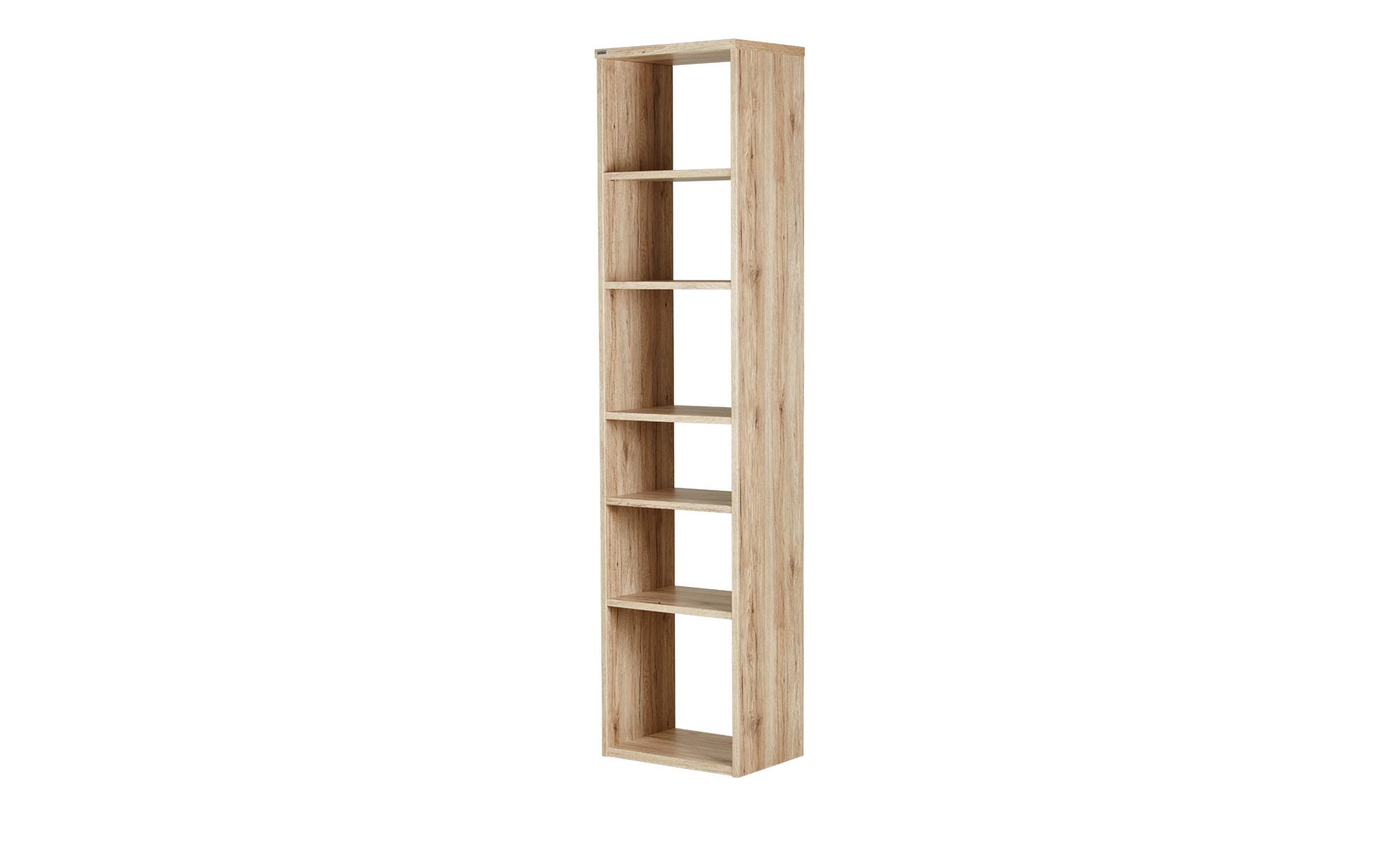 Standregal - holzfarben - 50,5 cm - 211 cm - 35,5 cm - Regale > Bücherregale - Möbel Kraft   Wohnzimmer > Regale > Einzelregale   Sconto