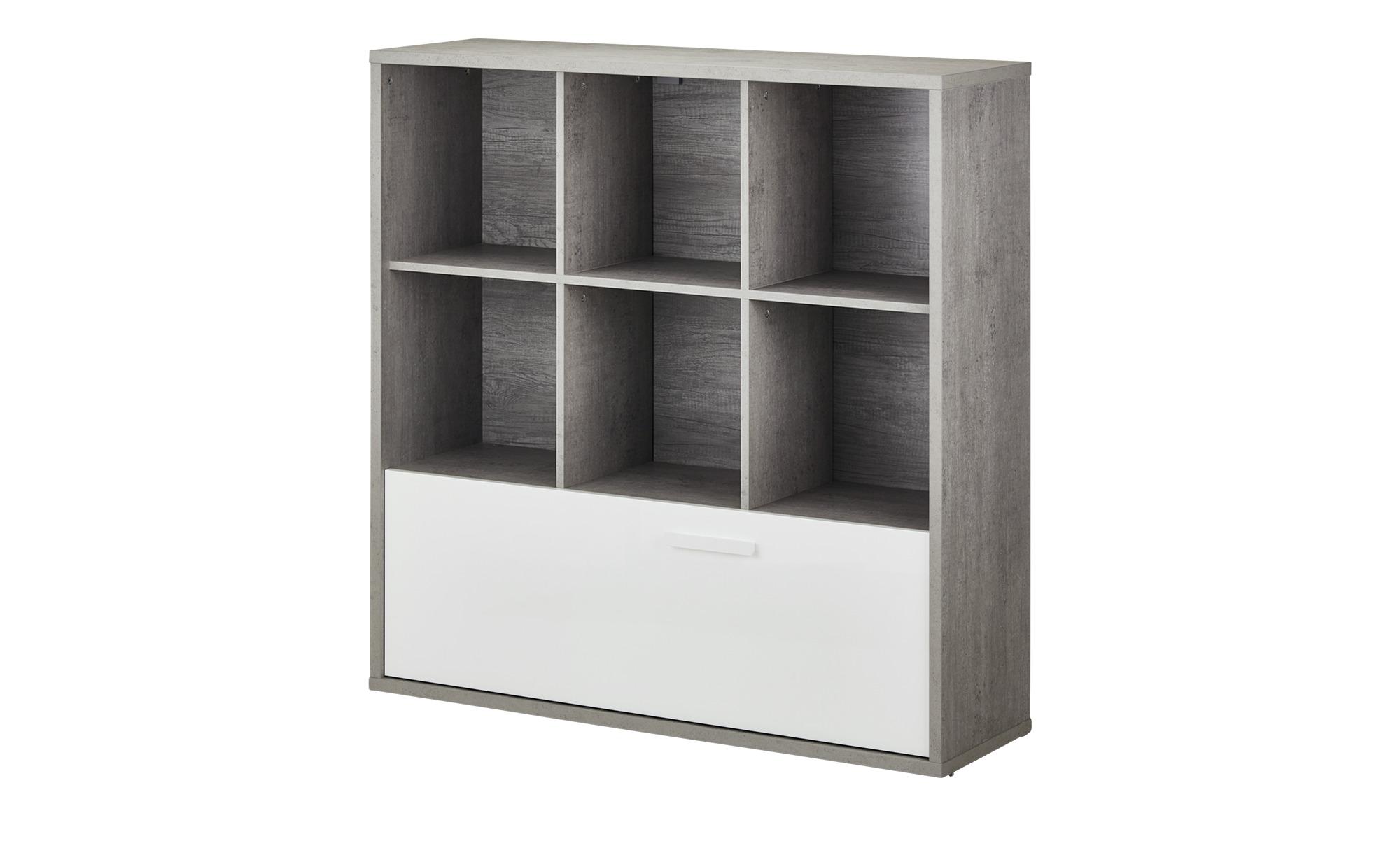 Multifunktionsregal - grau - 120 cm - 121 cm - 35,7 cm - Regale > Bücherregale - Möbel Kraft | Büro > Büroregale > Regalsysteme | Möbel Kraft