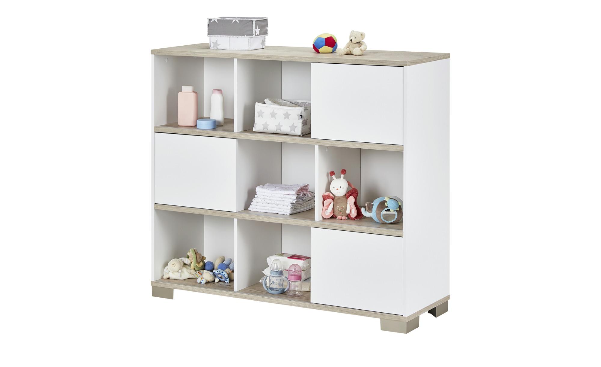 PAIDI Standregal mit Schiebetüren  Carlo - weiß - 126,8 cm - 112,8 cm - 40,6 cm - Regale > Bücherregale - Möbel Kraft | Wohnzimmer > Regale | PAIDI