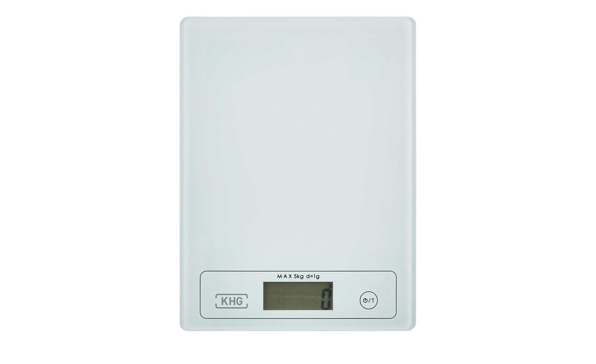 KHG Küchenwaage - weiß - Glas - 15 cm - Elektrokleingeräte > Backen, Kochen, Grillen - Möbel Kraft | Küche und Esszimmer > Küchengeräte > Küchenwaagen | KHG