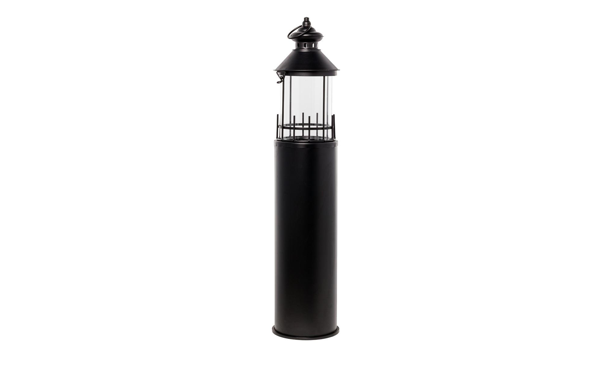 Laterne   Leuchtturm - schwarz - Glas , Metall - 99 cm - Dekoration > Laternen & Windlichter - Möbel Kraft   Dekoration > Kerzen und Kerzenständer > Laternen   Möbel Kraft