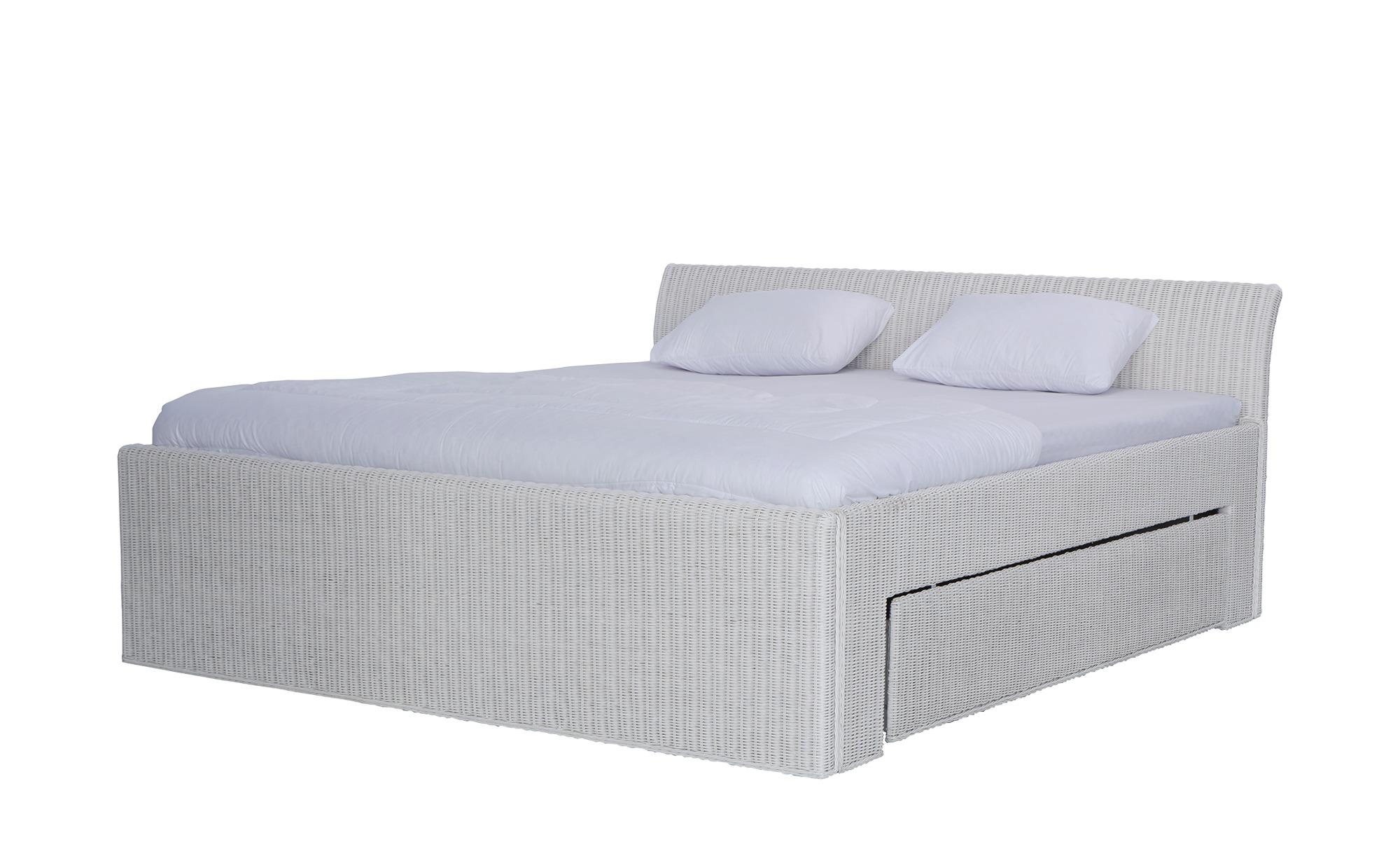 Rattan-Bettgestell - weiß - 195 cm - 85 cm - 226 cm - Betten > Bettgestelle - Möbel Kraft | Schlafzimmer > Betten > Rattanbetten | Sconto