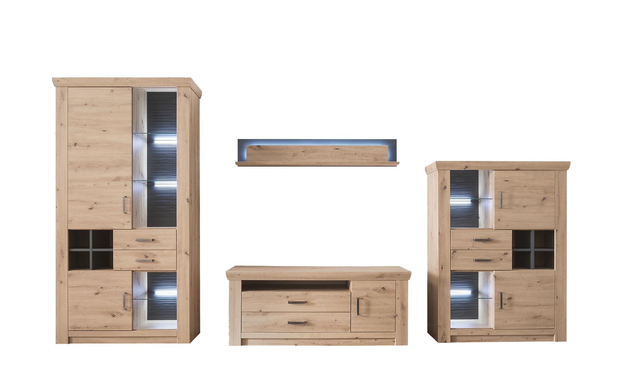uno Wohnkombination  Marian - holzfarben - 371 cm - 211 cm - 55 cm - Wohnwände > Anbauwände - Möbel Kraft   Wohnzimmer > Schränke > Wohnwände   uno