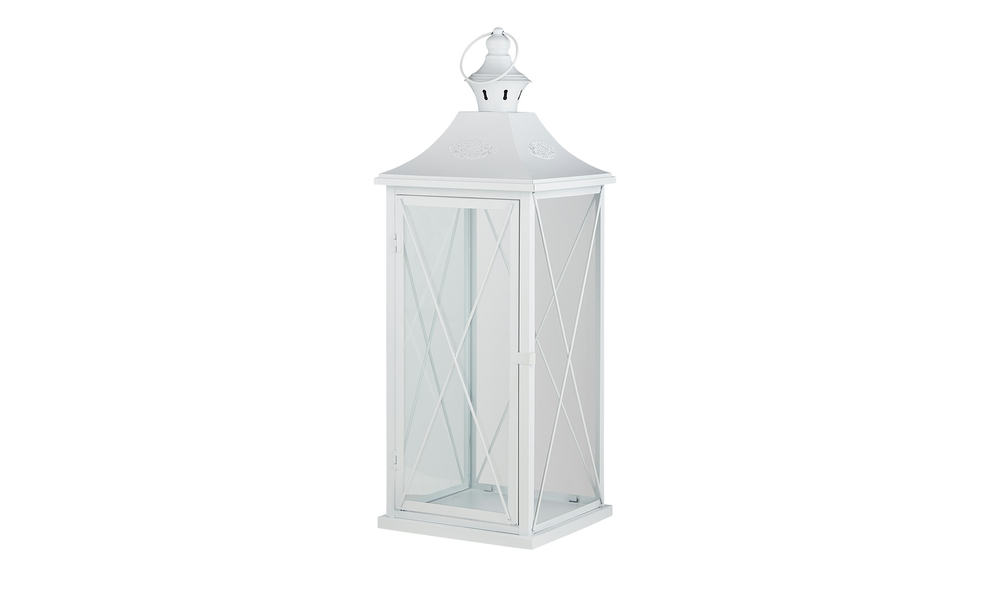 Laterne - weiß - Metall, Glas - 25 cm - 70 cm - 25 cm - Dekoration > Laternen & Windlichter - Möbel Kraft   Dekoration > Kerzen und Kerzenständer > Laternen   Möbel Kraft