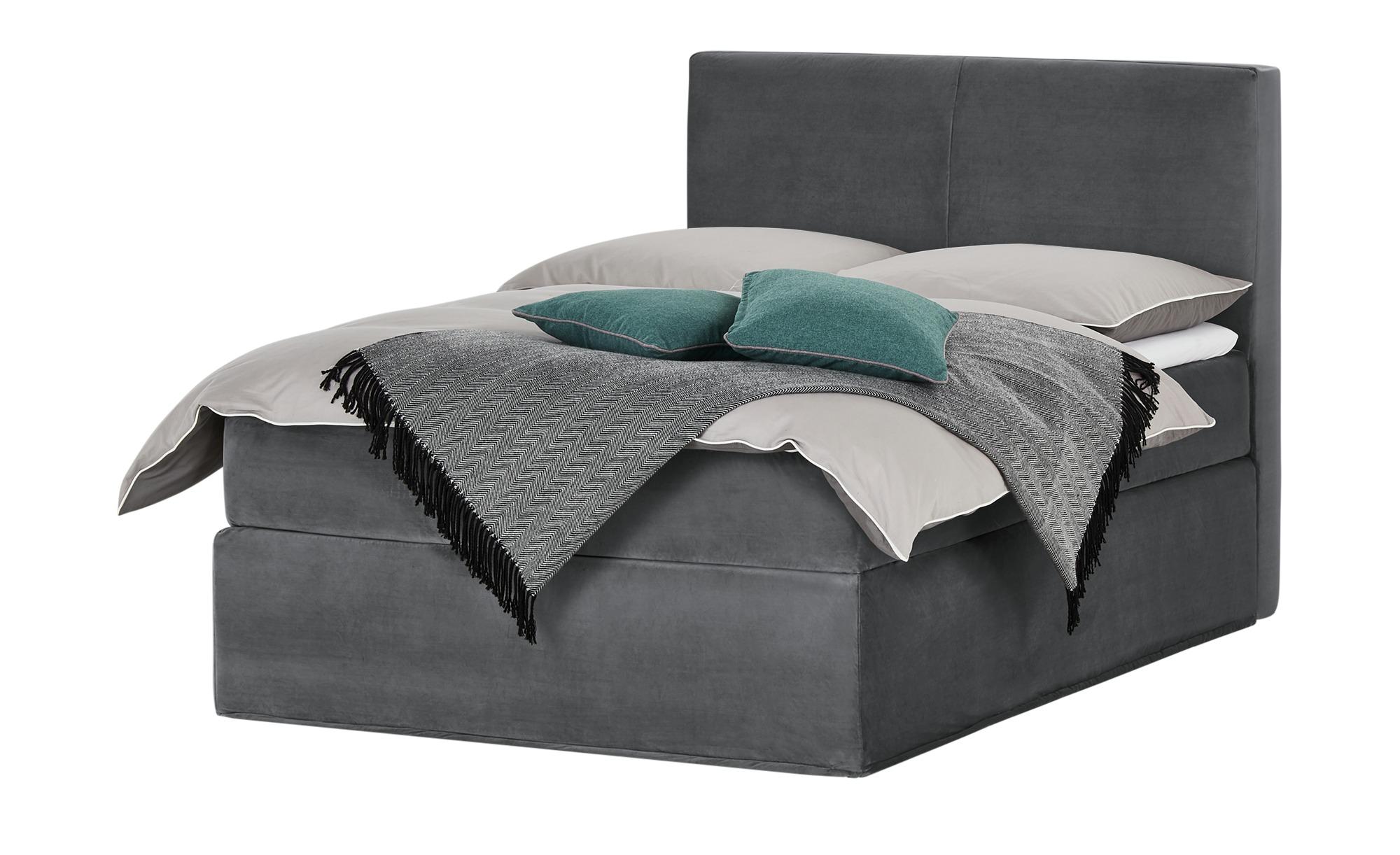 Boxspringbett 140 x 200 cm - grau - Betten > Boxspringbetten > Boxspringbet günstig online kaufen