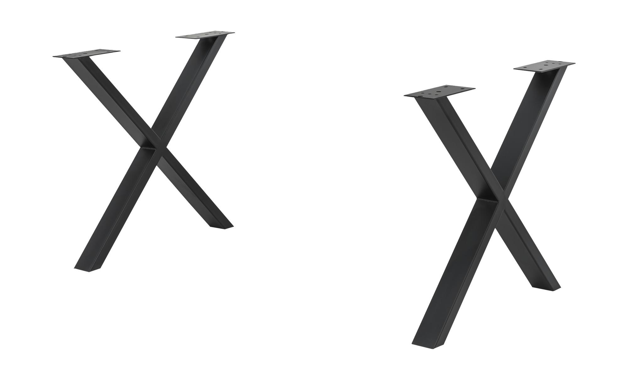 Tischgestell  Tuxa massiv - schwarz - Metall, pulverbeschichtet - 73 cm - 73 cm - 8 cm - Tische > Tischbeine - Möbel Kraft | Wohnzimmer > Tische > Weitere Tische | Möbel Kraft