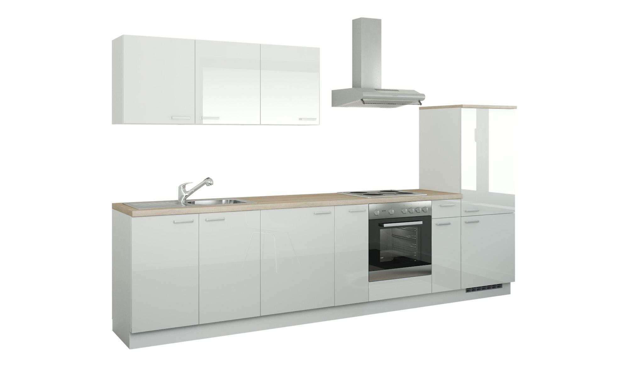 Küchenzeile mit Elektrogeräten - weiß - 330 cm - Aktuelle Gutschein Aktion > Schlafzimmer Aktion - Möbel Kraft | Küche und Esszimmer > Küchen > Küchenzeilen | Möbel Kraft
