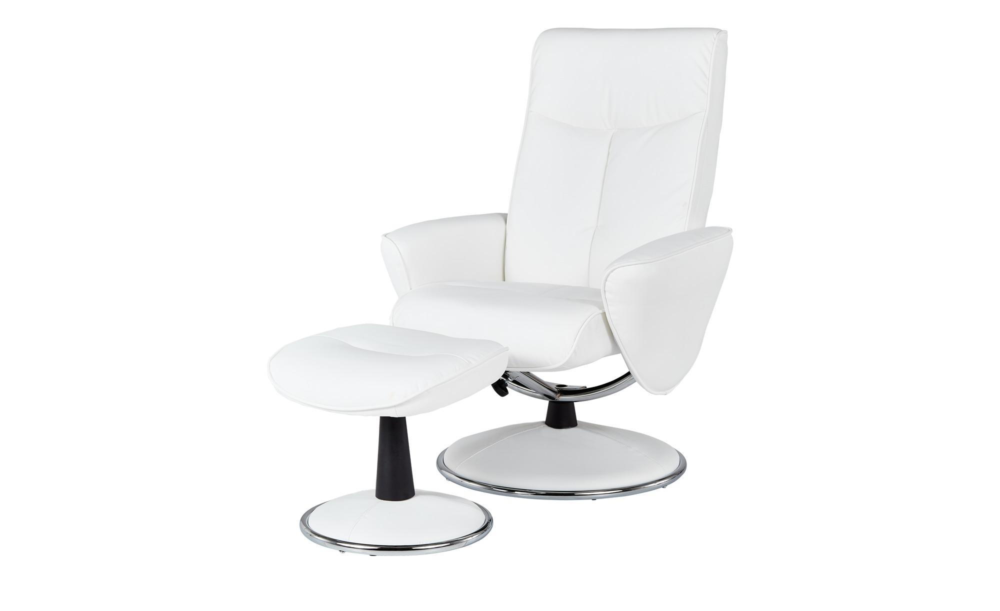 Fernsehsessel mit Hocker - weiß - 82 cm - 104,5 cm - 110 cm - Polstermöbel > Sessel > Fernsehsessel - Möbel Kraft | Wohnzimmer > Sessel > Fernsehsessel | Weiß | Sconto
