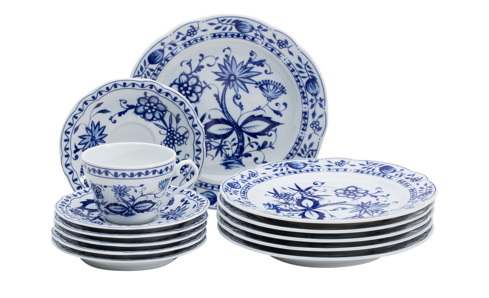 Kahla Kaffeeservice 18-teilig  Zwiebelmuster - blau - Porzellan - Geschirr > Geschirrsets > Kaffeeservice - Möbel Kraft