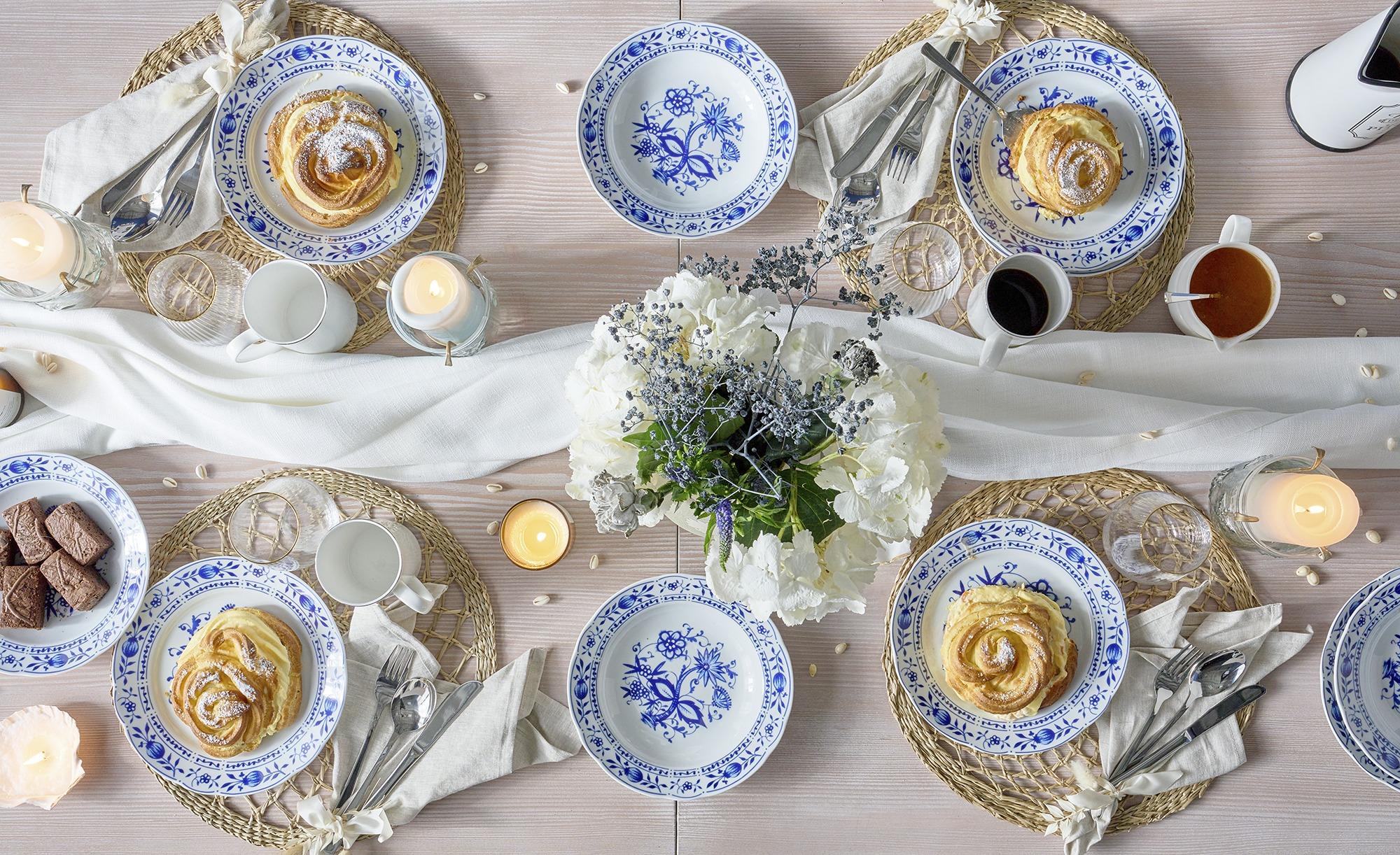 Kahla Tafelservice 12-teilig  Zwiebelmuster - blau - Porzellan - Geschirr > Geschirrsets > Tafelservice - Möbel Kraft