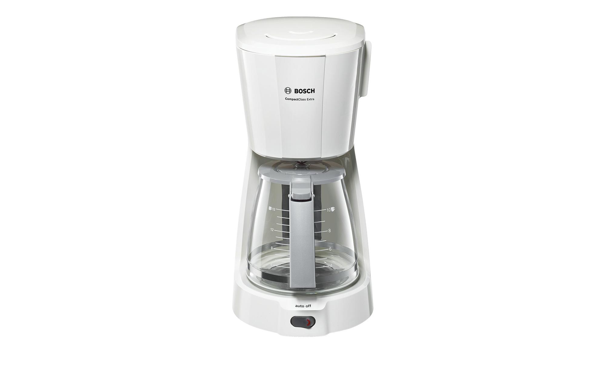 BOSCH Kaffeeautomat  TKA 3A031 - weiß - Kunststoff, Glas - 17 cm - 33,5 cm - 24,5 cm - Elektrokleingeräte > Kaffee & Espressomaschinen - Möbel Kraft | Küche und Esszimmer > Kaffee und Tee > Kaffeemaschinen | Glas | BOSCH