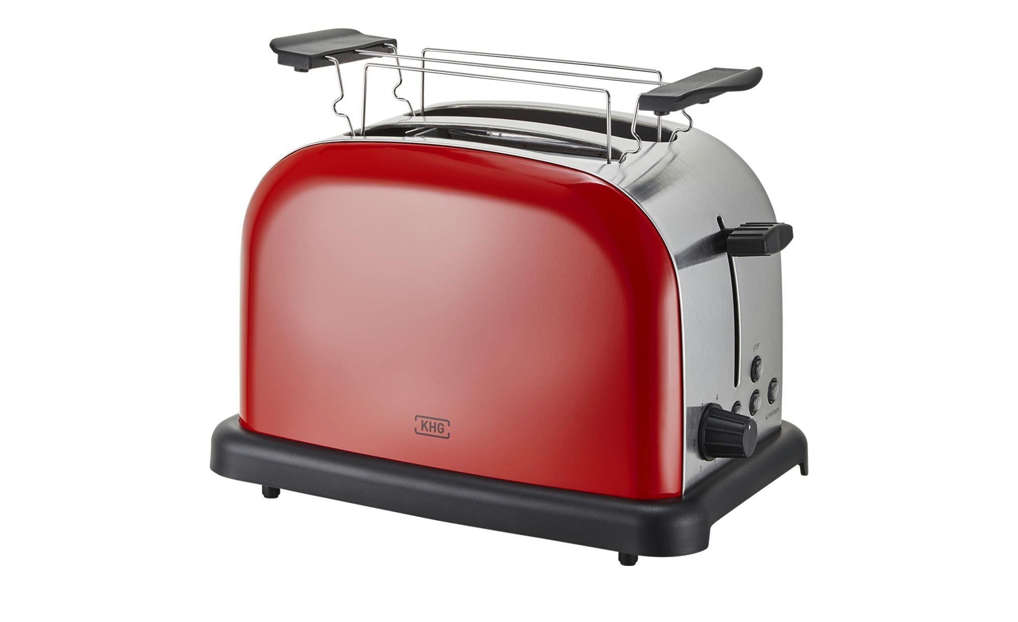 KHG Toaster  TO-1005 (RS) - rot - Edelstahl, Kunststoff - 30 cm - 20 cm - 18,3 cm - Elektrokleingeräte > Toaster - Möbel Kraft | Küche und Esszimmer > Küchengeräte > Toaster | KHG
