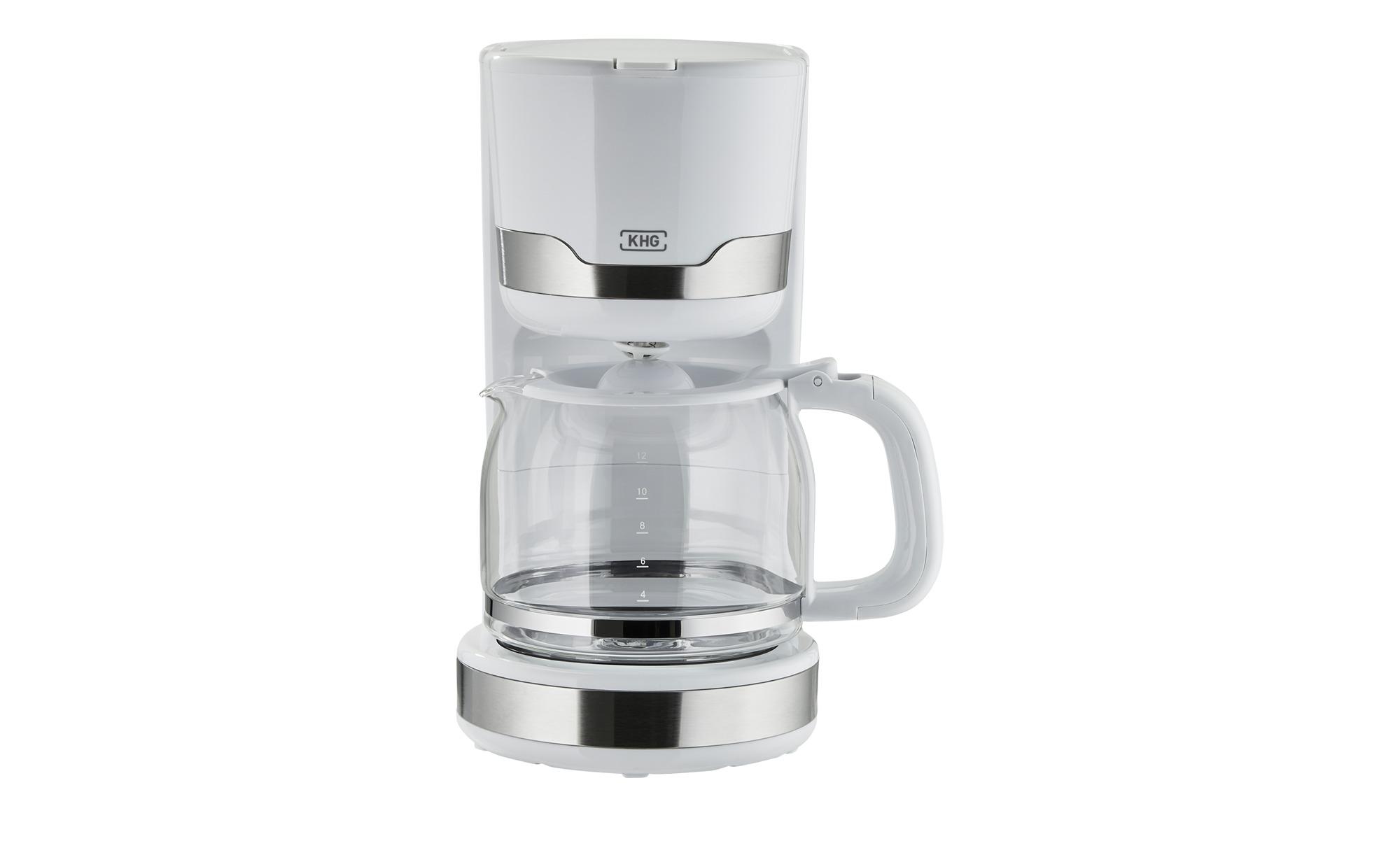 KHG Kaffeeautomat  KA-129 WE2 - weiß - Kunststoff, Glas , Edelstahl - 32 cm - 22 cm - 15,5 cm - Elektrokleingeräte > Kaffee & Espressomaschinen - Möbel Kraft | Küche und Esszimmer > Kaffee und Tee > Kaffeemaschinen | KHG