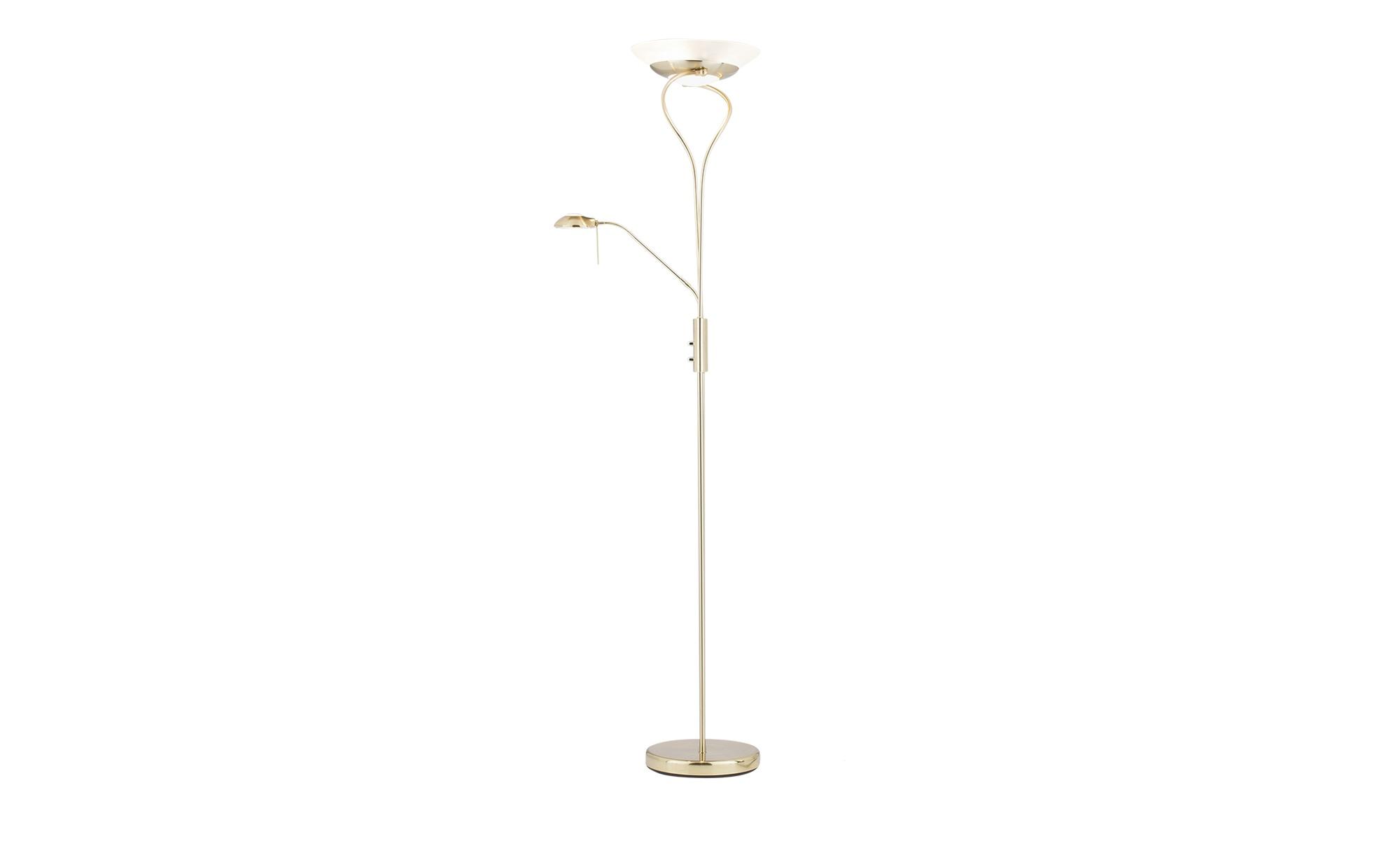 KHG Deckenfluter messing Lesearm - gold - 180 cm - Lampen & Leuchten > Innenleuchten > Deckenfluter - Möbel Kraft | Lampen > Stehlampen > Deckenfluter | KHG
