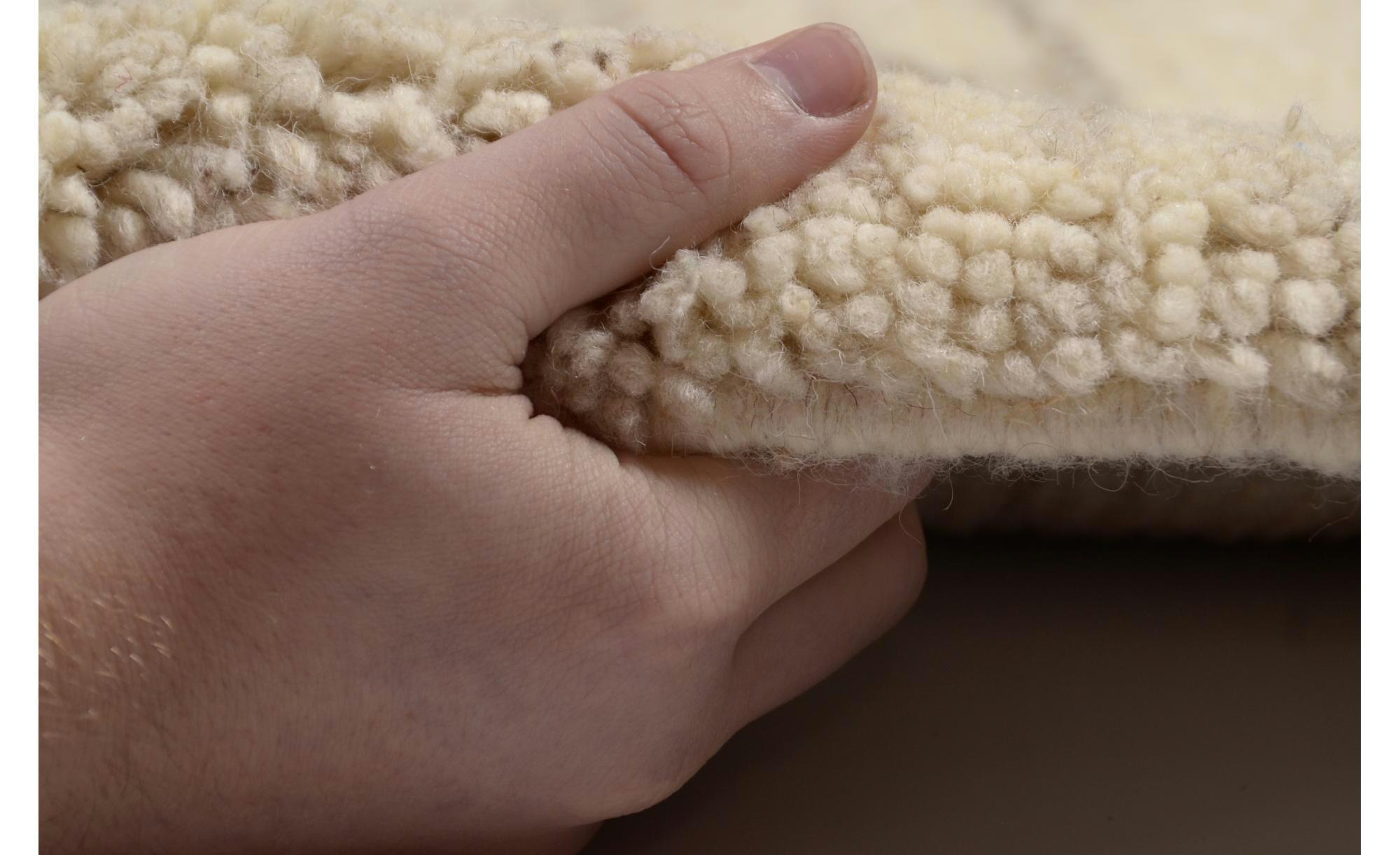 Berber-Teppich - creme - reine Wolle, Wolle - 120 cm - Teppiche > Wohnteppiche - Möbel Kraft   Heimtextilien > Teppiche > Berberteppiche   Sconto