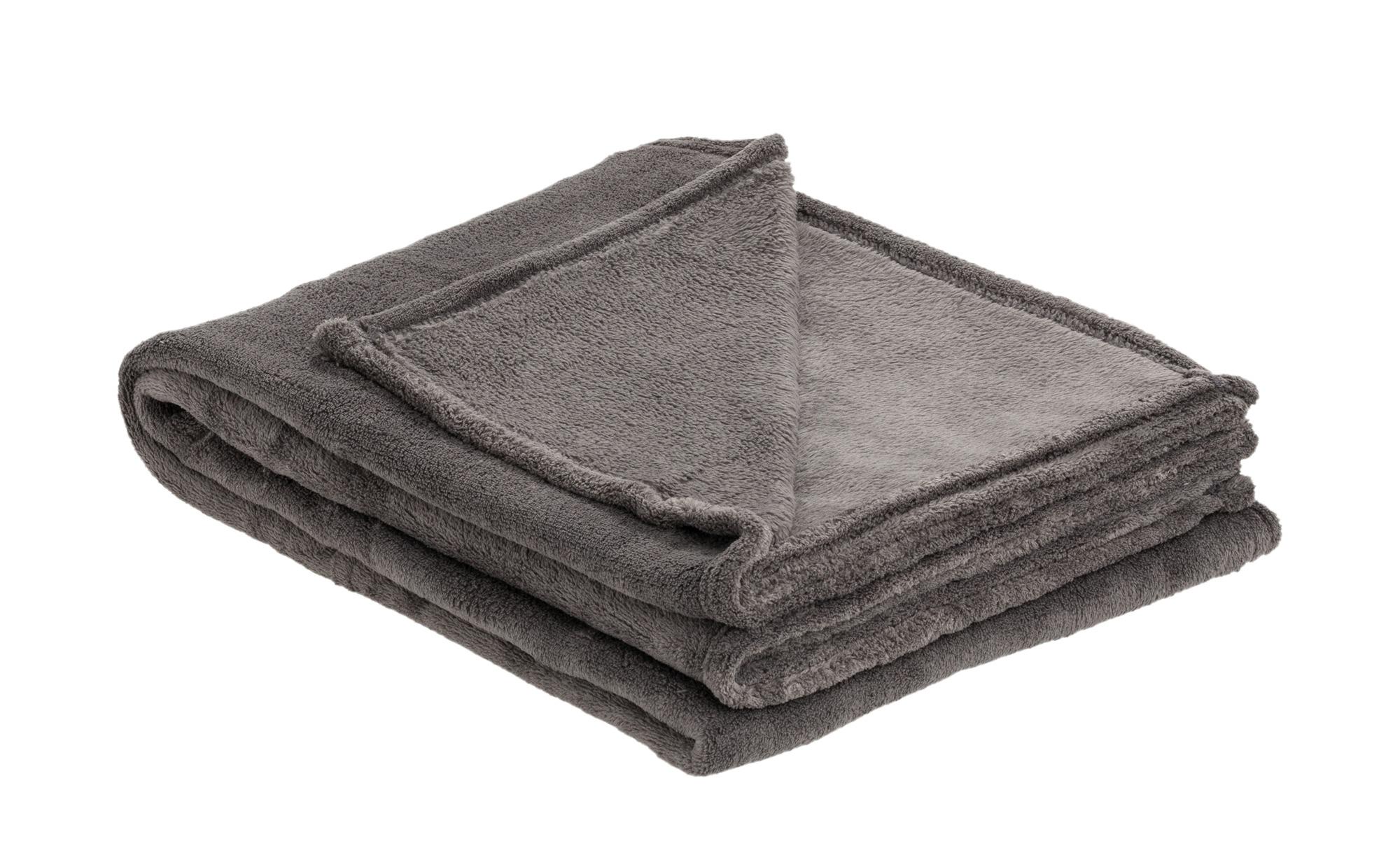 HOME STORY Coralfleecedecke  Emely - grau - Polyester, 100% Polyester - 130 cm - Heimtextilien > Kuscheldecken - Möbel Kraft | Heimtextilien > Decken und Kissen > Mehr-Decken | HOME STORY